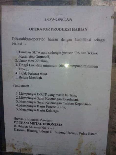 lowongan kerja pt team metal indonesia januari