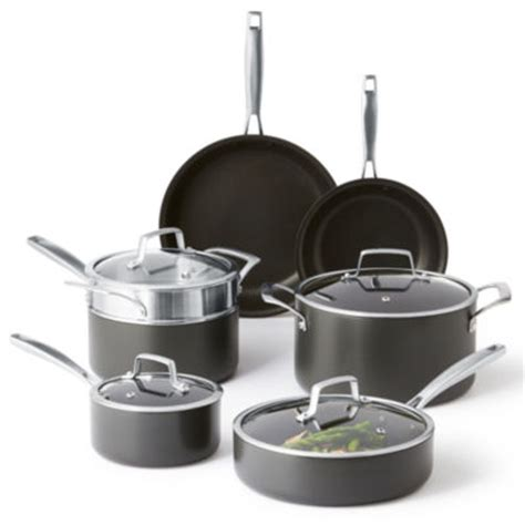 cooks signature hard anodized  pc cookware set jcpenney