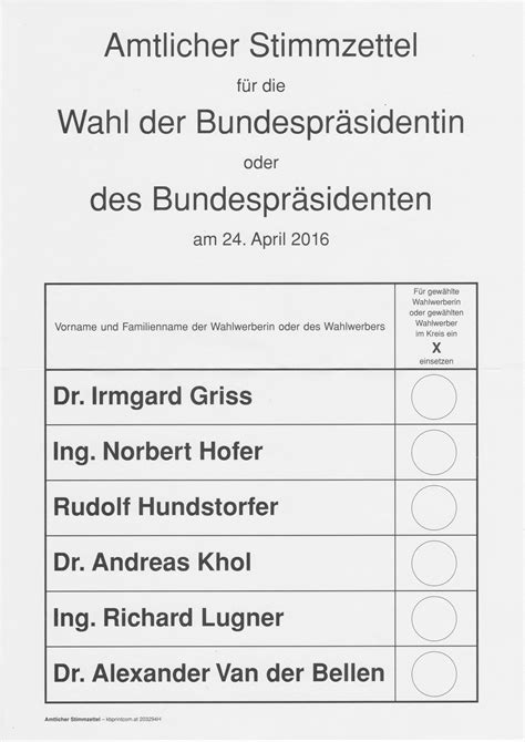 Word Vorlage Wahlzettel File Ballot Paper Austrian Presidential Election 2016 Ballot Png Wikimedia Commons