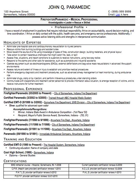 Emt Resumes by Paramedic Resume Sle Free Resume Template Professional Paramedic Resume Format