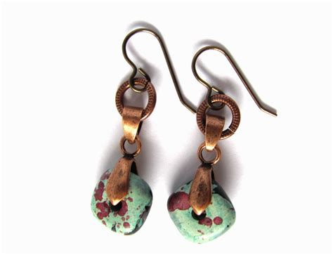 Handmade Jewelry Greece - mykonos bead copper earrings