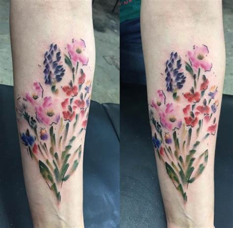 watercolor tattoo wildflowers 36 stunning watercolor flower tattoos tattooblend