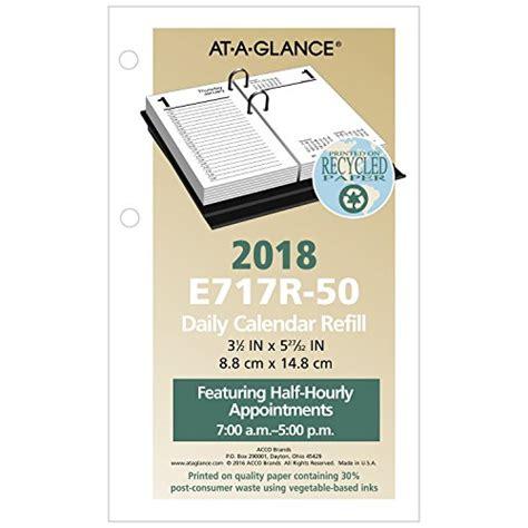 daily desk calendar 2018 at a glance daily desk calendar refill january 2018