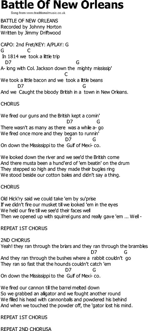 old country song lyrics with chords battle of new orleans