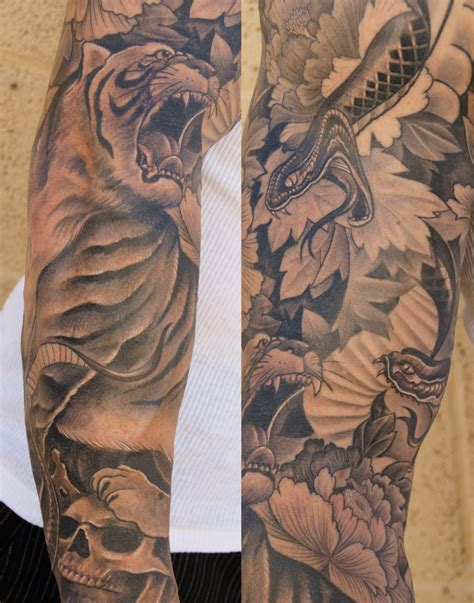 chinese sleeve tattoos tiger sleeve