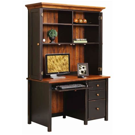 boyer ave single pedestal desk with hutch solid hardwood