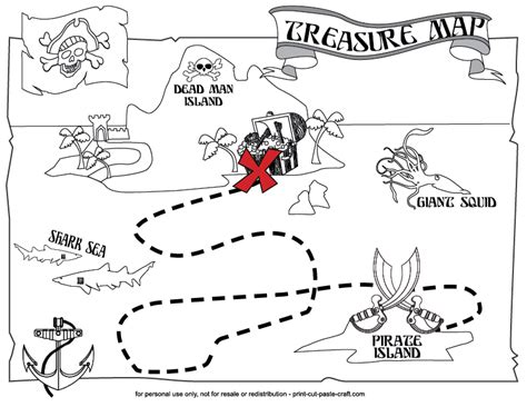 printable clue directions a printable treasure map for kids arts and crafts for