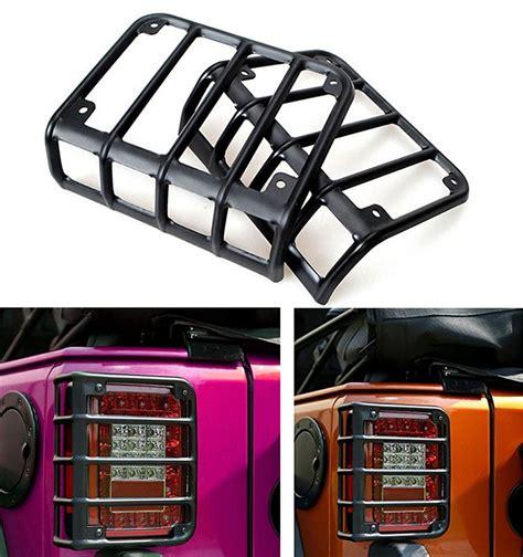 jeep wrangler tail light lens cover pair lantsun matte black rear euro tail light guard cover