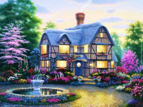 country cottage wallpaper country cottage wallpaper garden painting trees house
