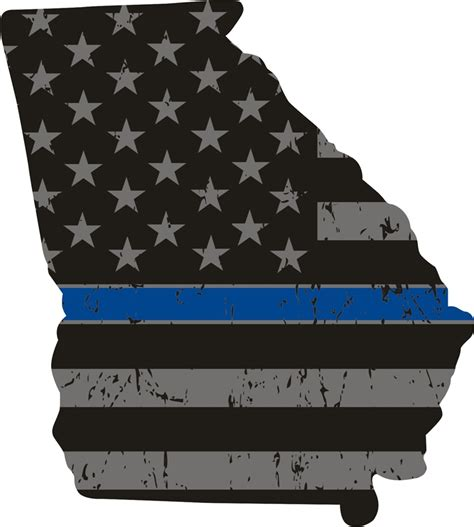 Ga Blue thin blue line flag state decal