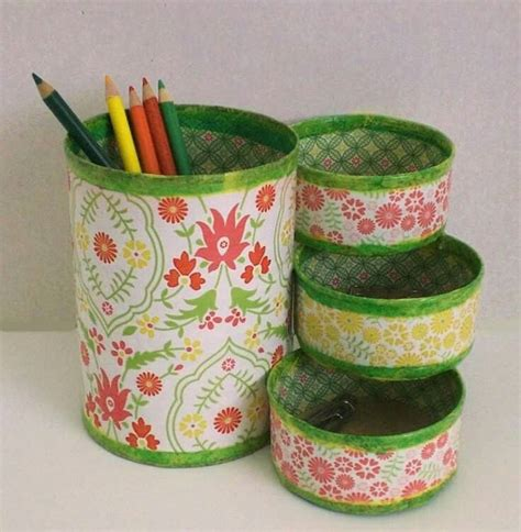 decorar latas papel reciclado copos de nieve pinterest latas latas
