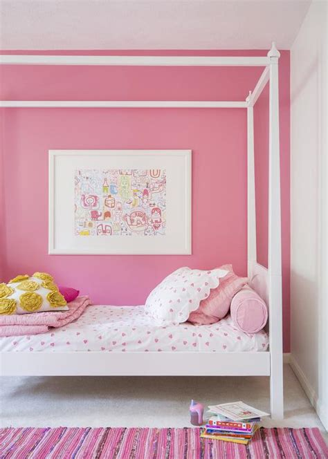 pink walls bedroom kids canopy bed transitional girl s room domino magazine