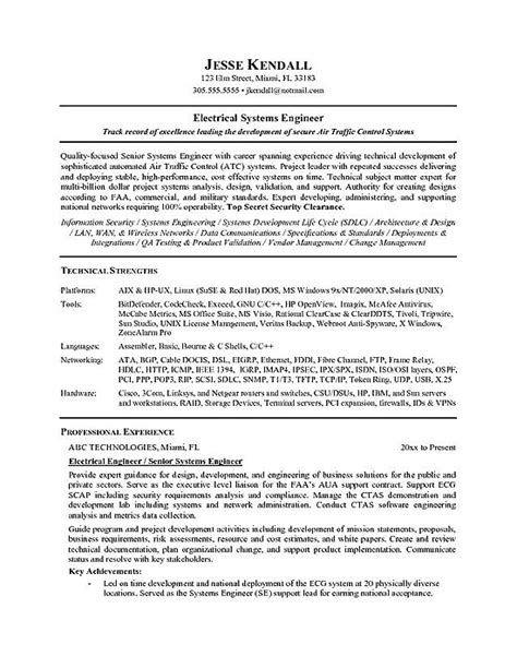 electrical project engineer resume format electrical engineer resume exle