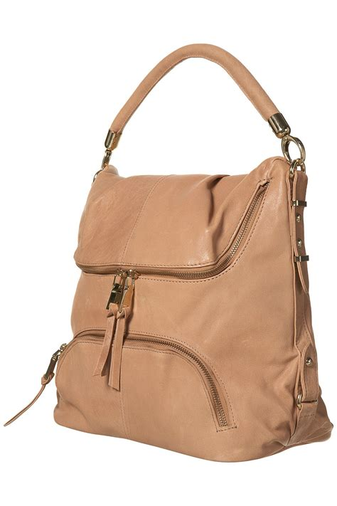 Leather Slouchy Satchel From Topshop by Topshop Leather Zip Slouch Bag In Beige Lyst