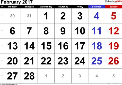 feb week calendar february 2017 uk bank holidays excel pdf word