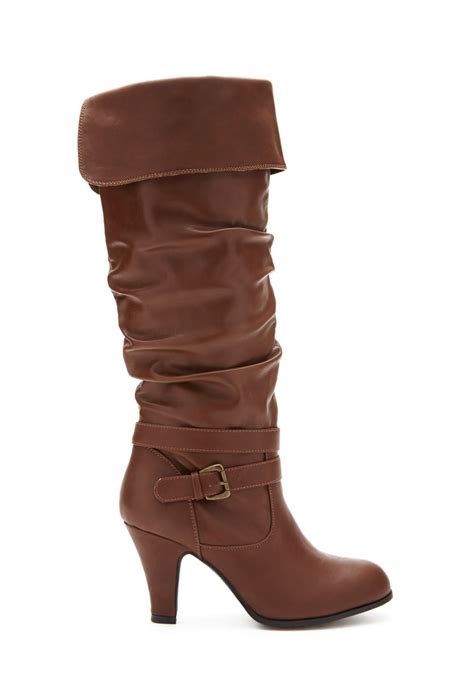 the knee heeled boots forever 21 heeled knee high boots in brown lyst