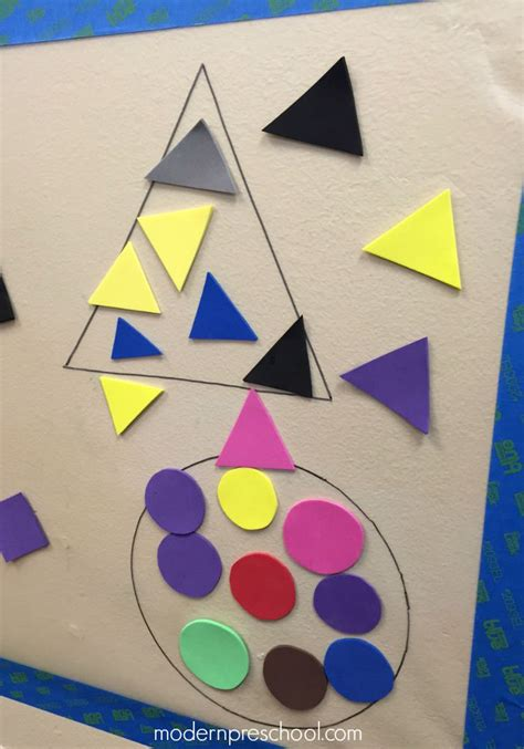 shapes crafts for shape sort sticky wall