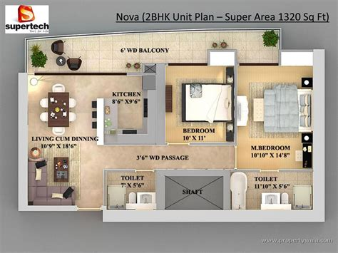 2bhk floor plan supertech supernova sector 94 noida commercial
