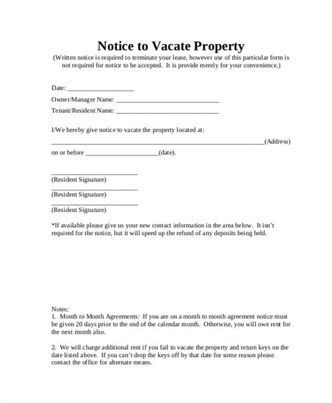 Agreement To Vacate Letter Notice To Vacate Form 9 Free Documents In Pdf Doc