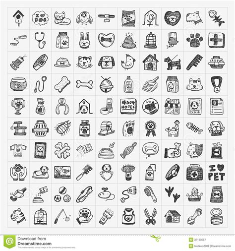 free doodle icon set doodle pet icons set royalty free stock photography