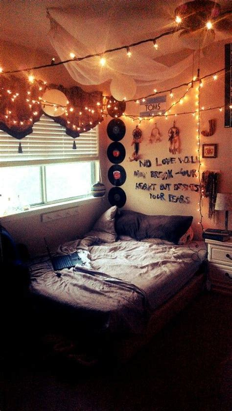 indie bedroom ideas hipster indie room fairy lights and quote on wall cute
