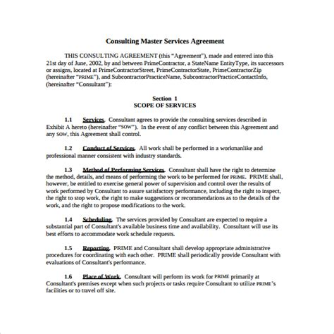 Master Service Agreement Template by Master Service Agreement 10 Free Documents In
