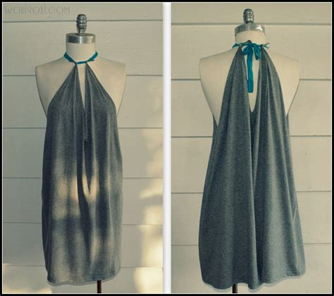 how to make a diy dress from a mans dress shirt fashion wobisobi summer halter no sew dress diy