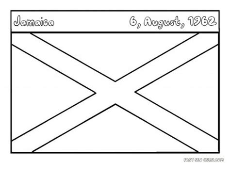 flags of jamaica coloring page for kids printable
