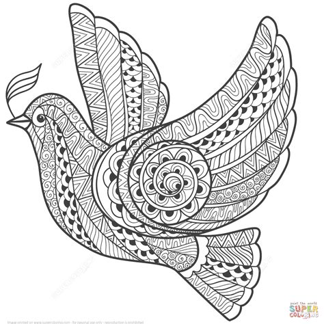 coloring pages for adults peace zentangle dove of peace super coloring eclectic color