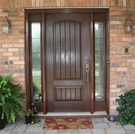 Stunning Solid Wooden Entry Door With Wooden Sash Frames Wood Front Entry Door