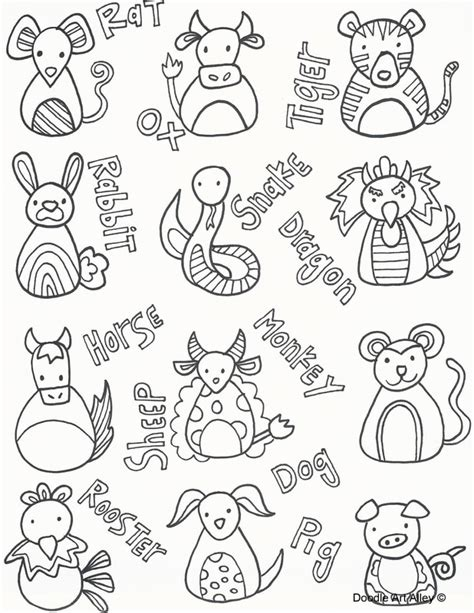 new year animal colouring pictures coloring pages doodle alley