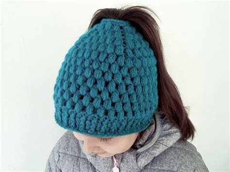 crochet hair look hat patterns messy bun hat with bubbles ponytail beanie for girls and