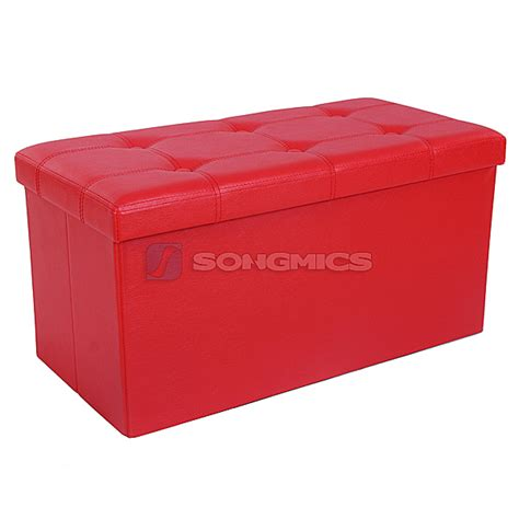 toy box with bench seat songmics folding storage ottoman 2 seater pouffe seat