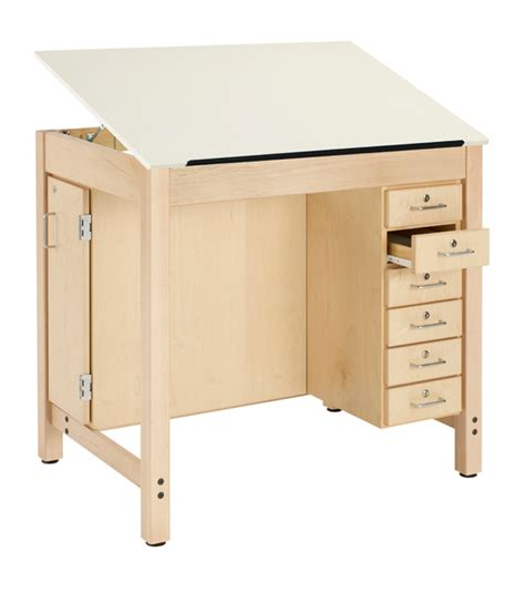Shain Drawing Table W 1 Piece Top W Drawers Board Drafting Table Storage