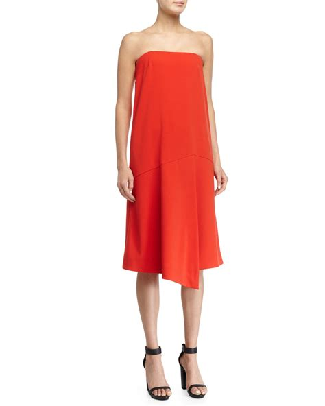 draped red dress tibi draped strapless shift dress in red lyst