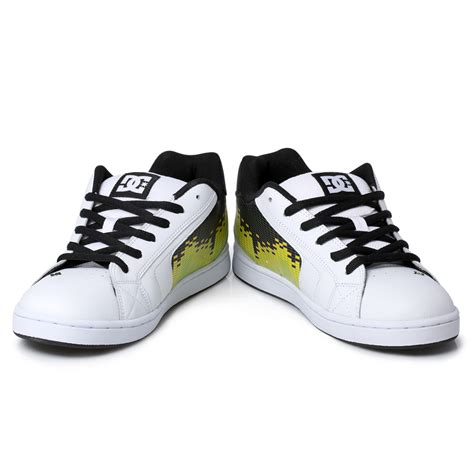 white dc sneakers dc shoes net se leather mens white black trainers sneakers