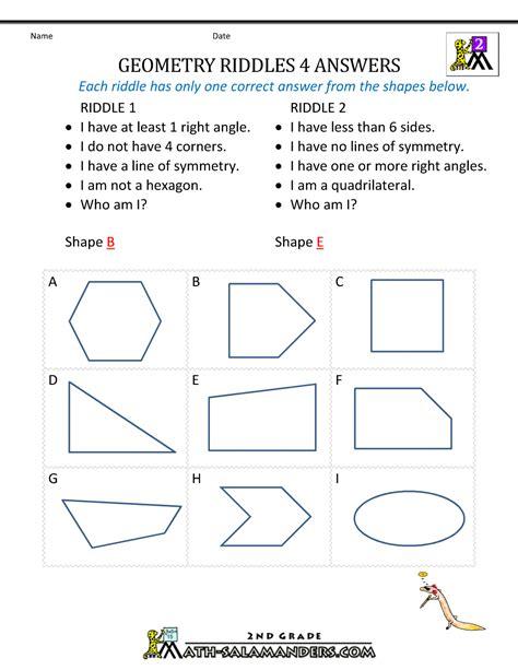 Free Geometry Worksheets by Free Geometry Worksheets 2nd Grade Geometry Riddles