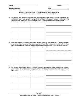 Non Mendelian Genetics Worksheet by Non Mendelian Genetics Practice Problems Worksheet Fill