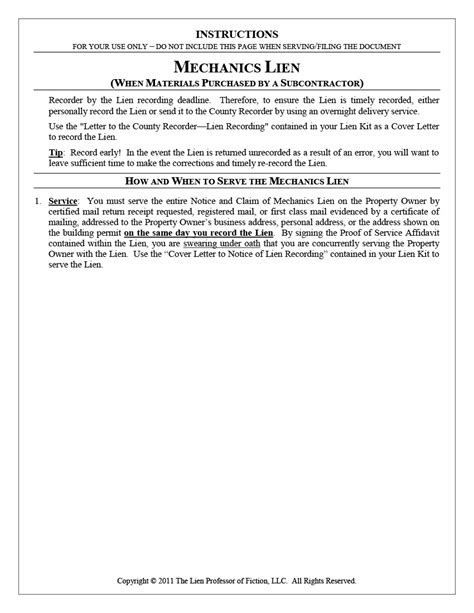 Texas Pre Lien Notice Kits For Filing Mechanics Liens Notice Of Lien Letter Template