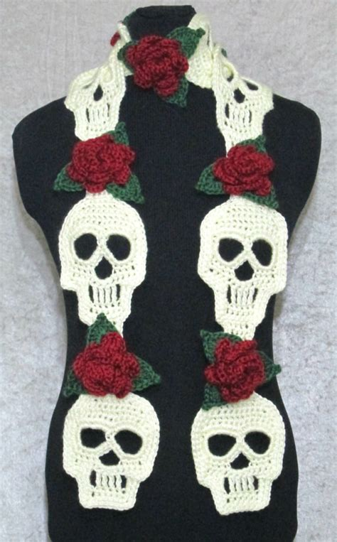 knitting pattern skull scarf this lovely scarf is handmade with skull and rose motifs