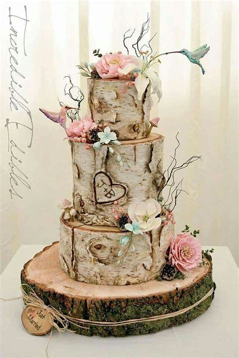 nature wedding cakes ideas  pinterest rustic decorative plates wood cake stands