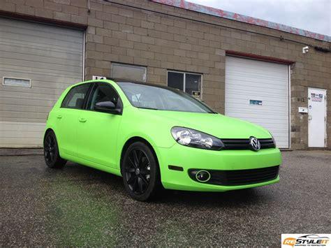 green volkswagen golf matte lime green vw golf vehicle customization shop