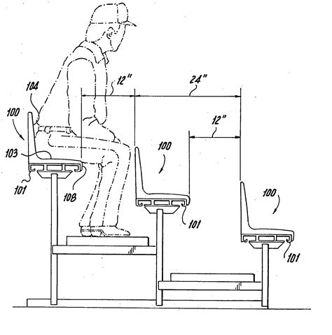 stadium bench seating dimensions patent us20060108843 bleacher seat patents