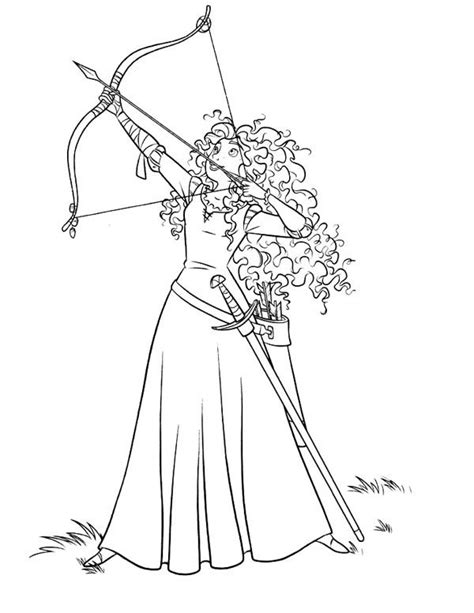 disney coloring pages brave brave merida ready to release an arrow in disney brave