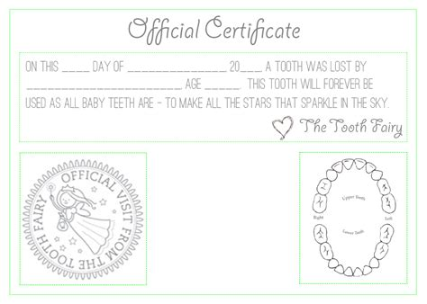 official quot tooth fairy quot certificate activities for