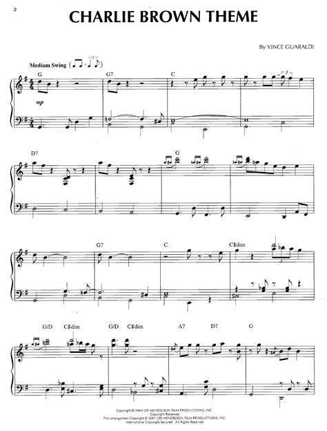 theme music in charlie brown theme by vince gauraldi j w pepper sheet music