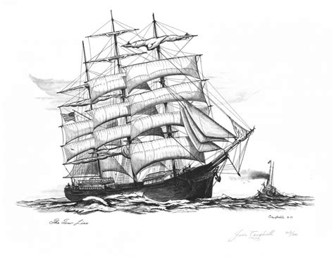 boat drawing ink hawaiian museums pyrography the tow line quot pen and ink