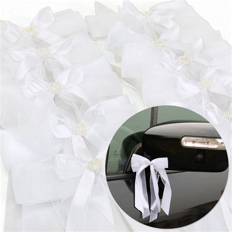 10X White Ribbon Bow Kit For Wedding Car Decoration Pew