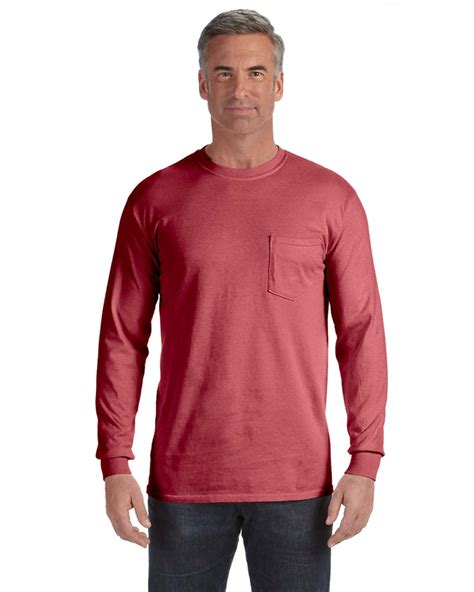 comfort colors long sleeve pocket tee comfort colors 4410 garment dyed heavyweight ringspun long