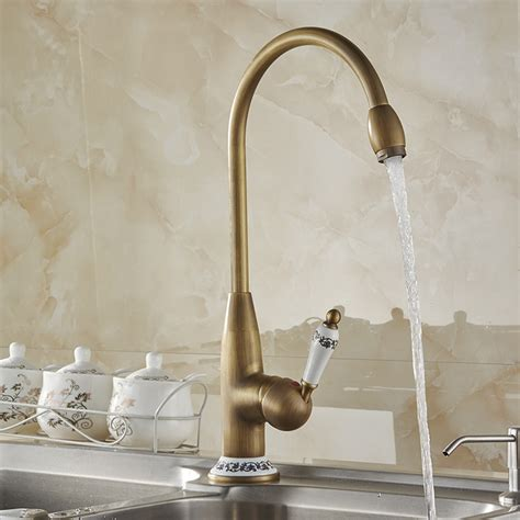 antique kitchen sink faucets ouzel antique brass single handle kitchen sink faucet